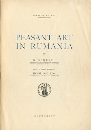 Oprescu G. / ������� �. - Peasant art in Rumania / ������������ ��������� � ������� [1939, PDF, ENG]