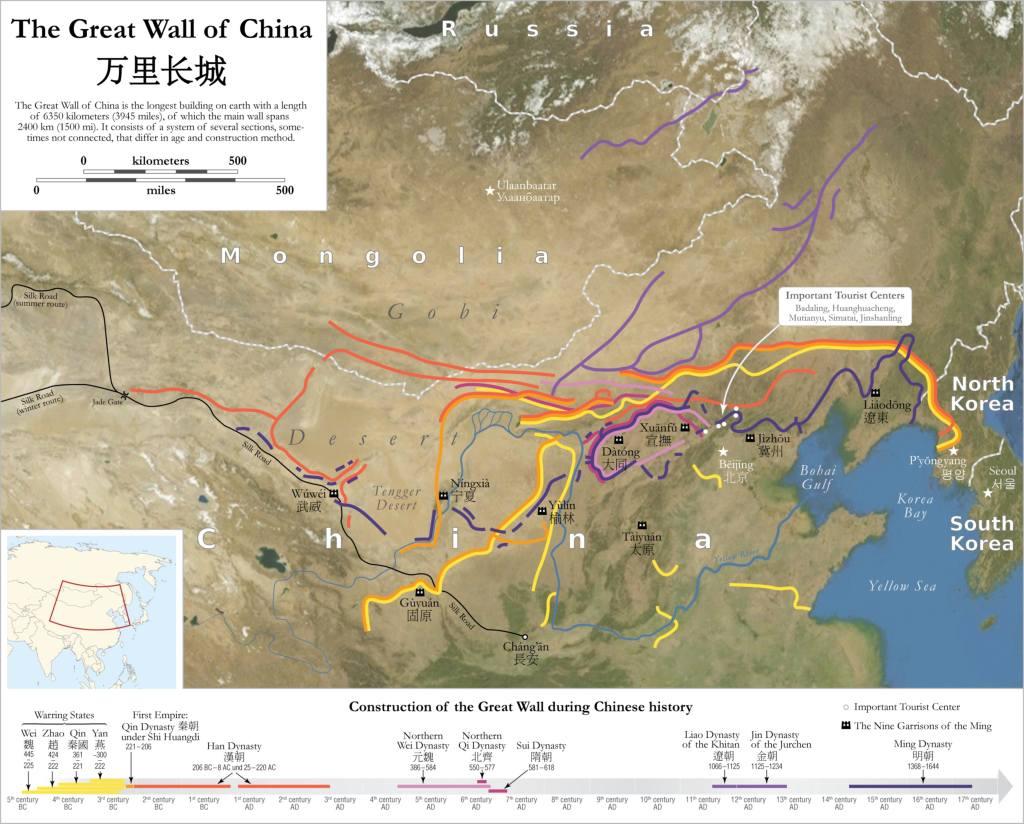 Участки «Китайской» стены, построенные в разное время (данные китайских исследователей)