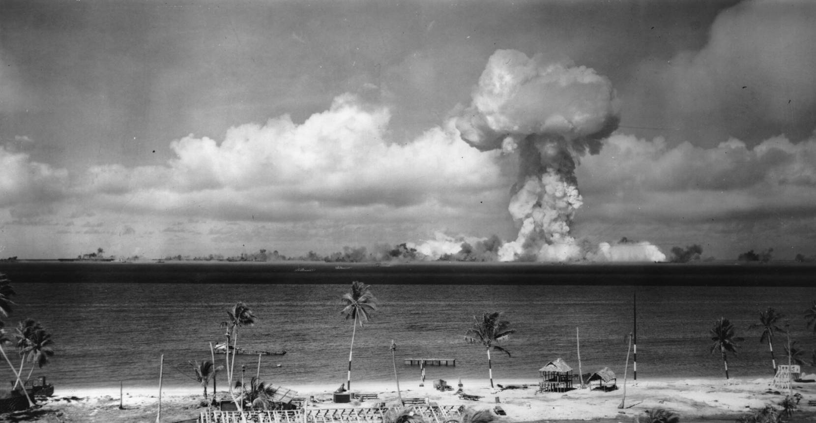 July 1946: A mushroom cloud forms after the initial Atomic Bomb test explosion off the coast of Bikini Atoll, Marshall Islands. (Photo by Keystone/Getty Images)